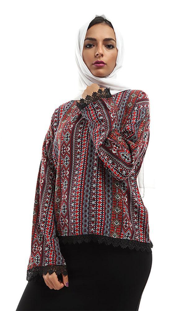 Printed Shirt-Lace Trims- Long Sleeces