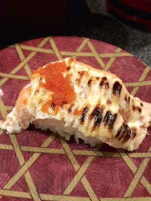 Salmon Aburi Sushi at Heiroku Sushi Omotesando Japan