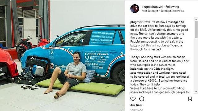 Kebanjiran di Indonesia, Bule Ini Cari Dana untuk Perbaiki Mobil Listriknya