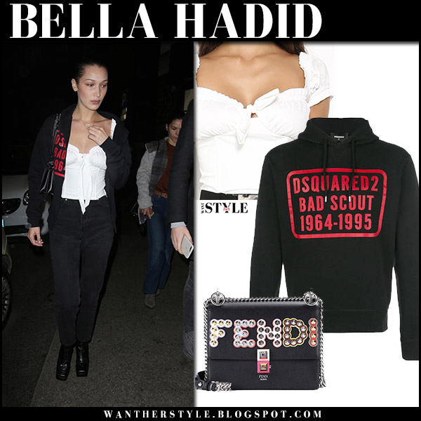 Bella Hadid in black zip hoodie dsquared2, white top i.am.gia and black jeans model off duty style january 15