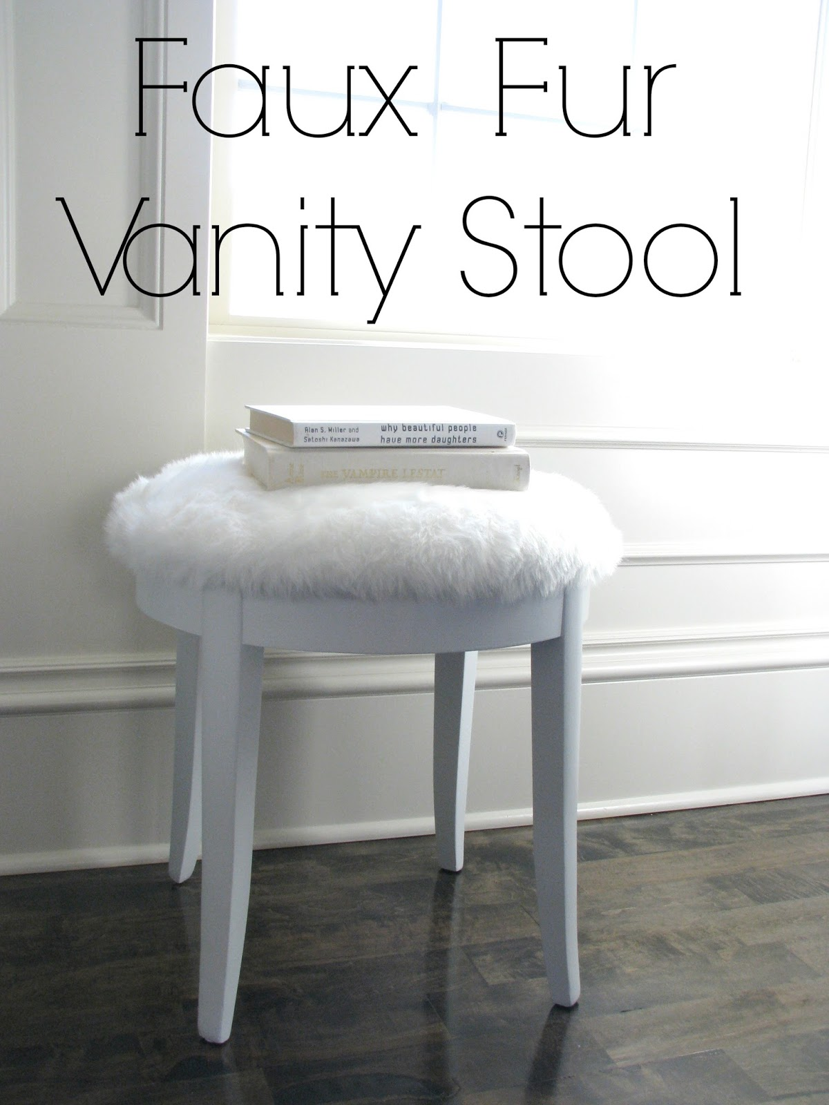 vanity chair white fur small chairs for spaces life love larson look less challenge faux