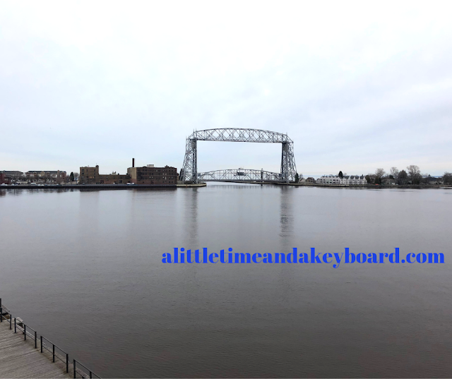 Magnificent view of the Aerial Lift Bridge from the deck at Great Lakes Aquarium in Duluth, Minnesota