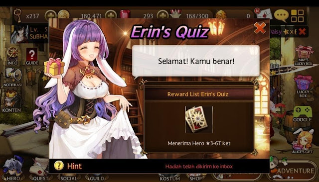 Ikuti Selalu perkembangan Erin Quiz