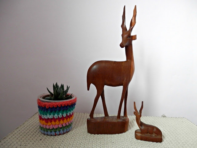 Charity shopping, the one with the BEAUTIFUL German coffee set. And retro wooden antelope.  And a cool retro little plant pot.  secondhandsusie.blogpsot.com #charityshopblogger #charityshopping #thriftbreak