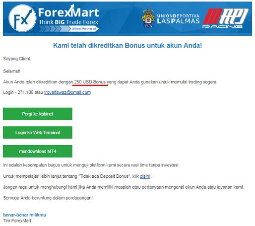 Bonus 250 USD dari ForexMart
