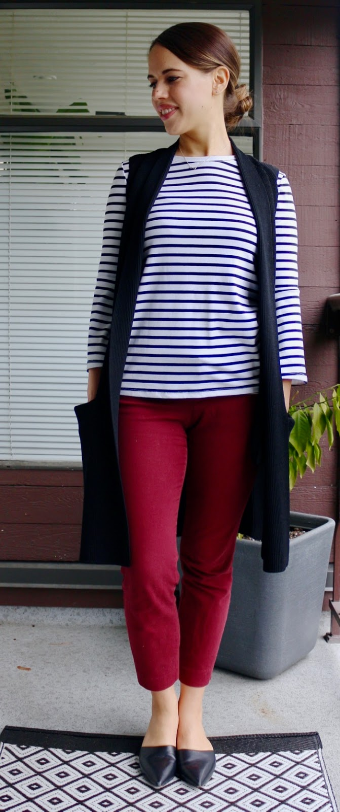 Jules in Flats - Striped Bell Sleeve Top with Sweater Vest and Mules