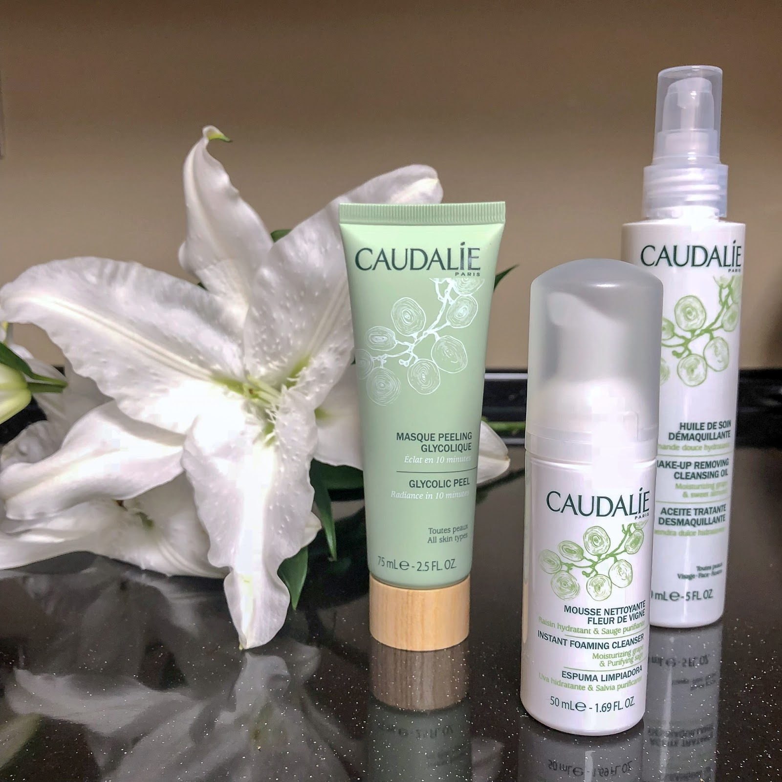 my midlife fashion, caudalie, caudalie glycolic peel mask, caudalie instant foaming cleanser, caudalie make up removing cleansing oil