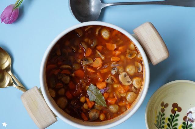 minestrone champignons carotte pois chiche sans gluten IG bas