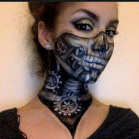 Steampunk special fx makeup. Steampunk robot skeleton with gears beneath skin. Scary face paint idea for halloween or cosplay