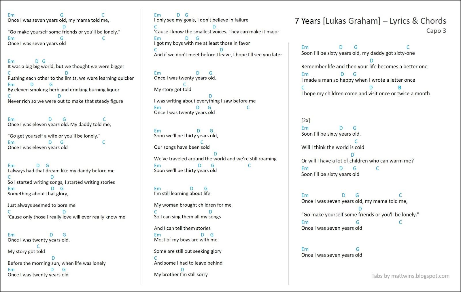 Lukas Graham - 7 Years Lyrics | MetroLyrics