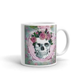 glazed ceramic skull coffee mug