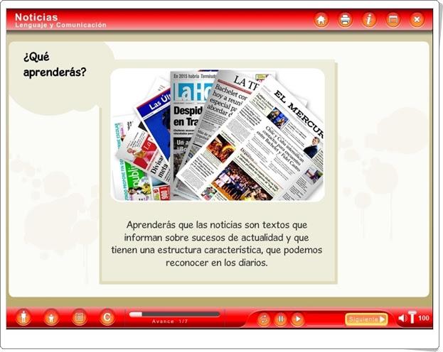 """""""Noticias"""" (Aplicación interactiva de Lengua Española de Primaria)"""