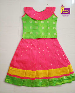 Frill Pattu Pavadai Langa Lehenga Choli for Girl