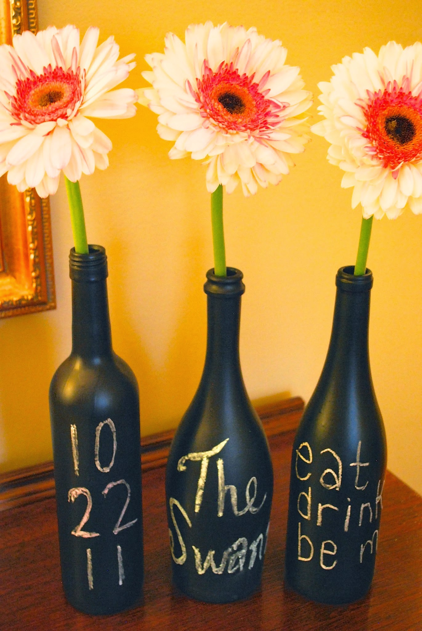 DIY Chalkboard Painted Wine Bottles