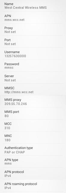 West Central Wireless mms Settings for Android