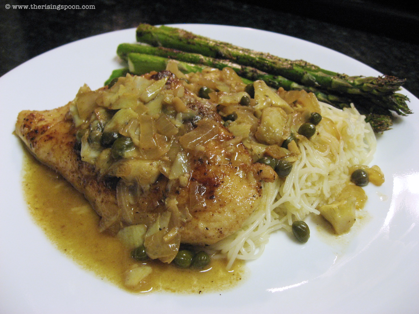 Chicken Piccata With Artichokes Onion Garlic Capellini The