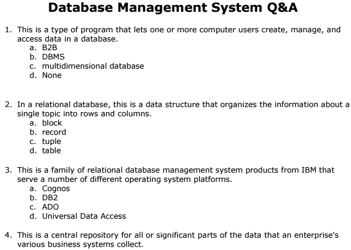Database management system pdf for bank exams in america