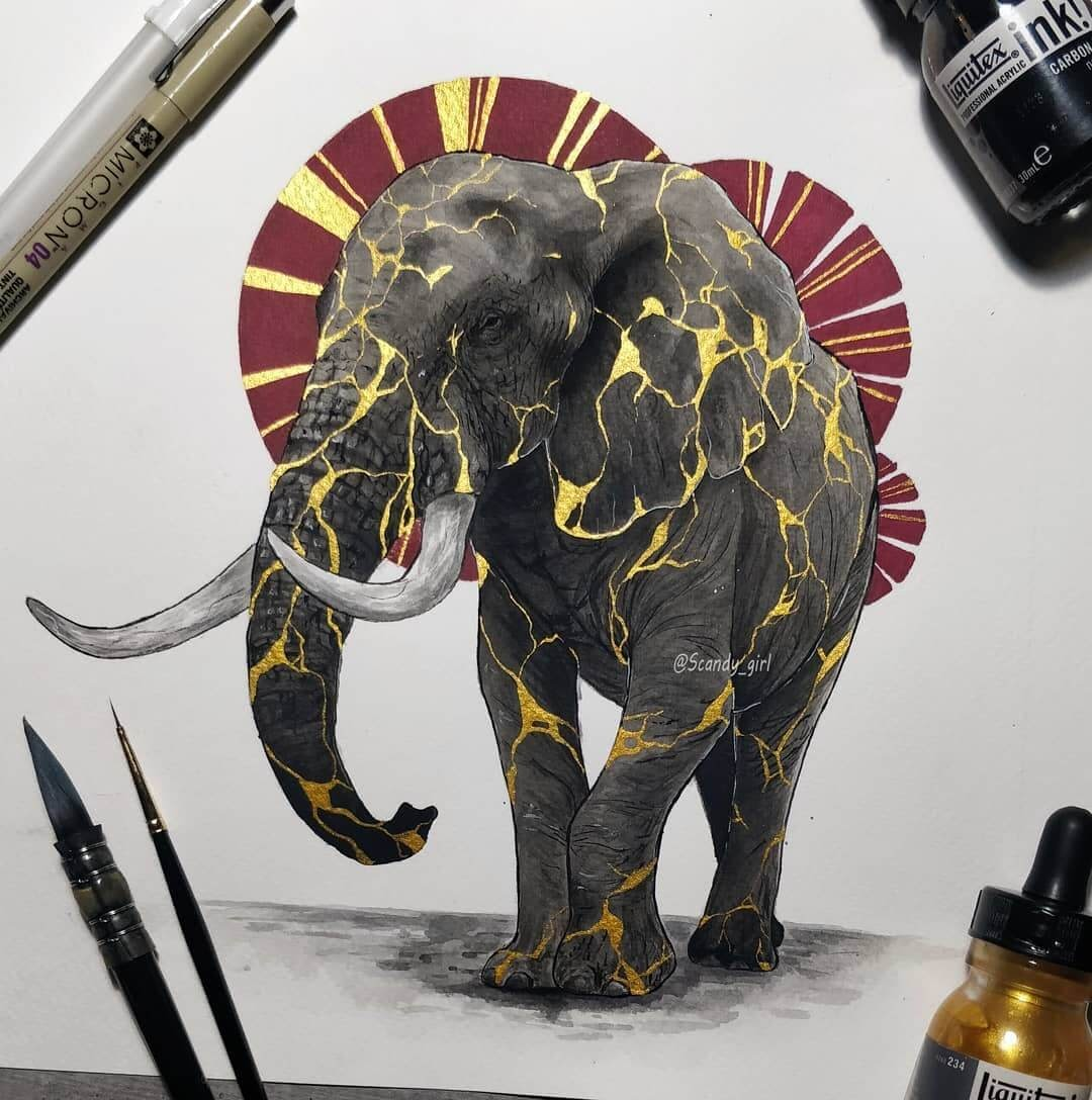 02-Elephant-Jonna-Hyttinen-Animals-Mixture-of-Drawings-and-Paintings-www-designstack-co