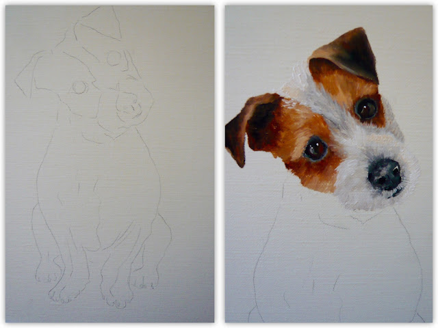 work-in-progress, oil painting of a jack russell terrier