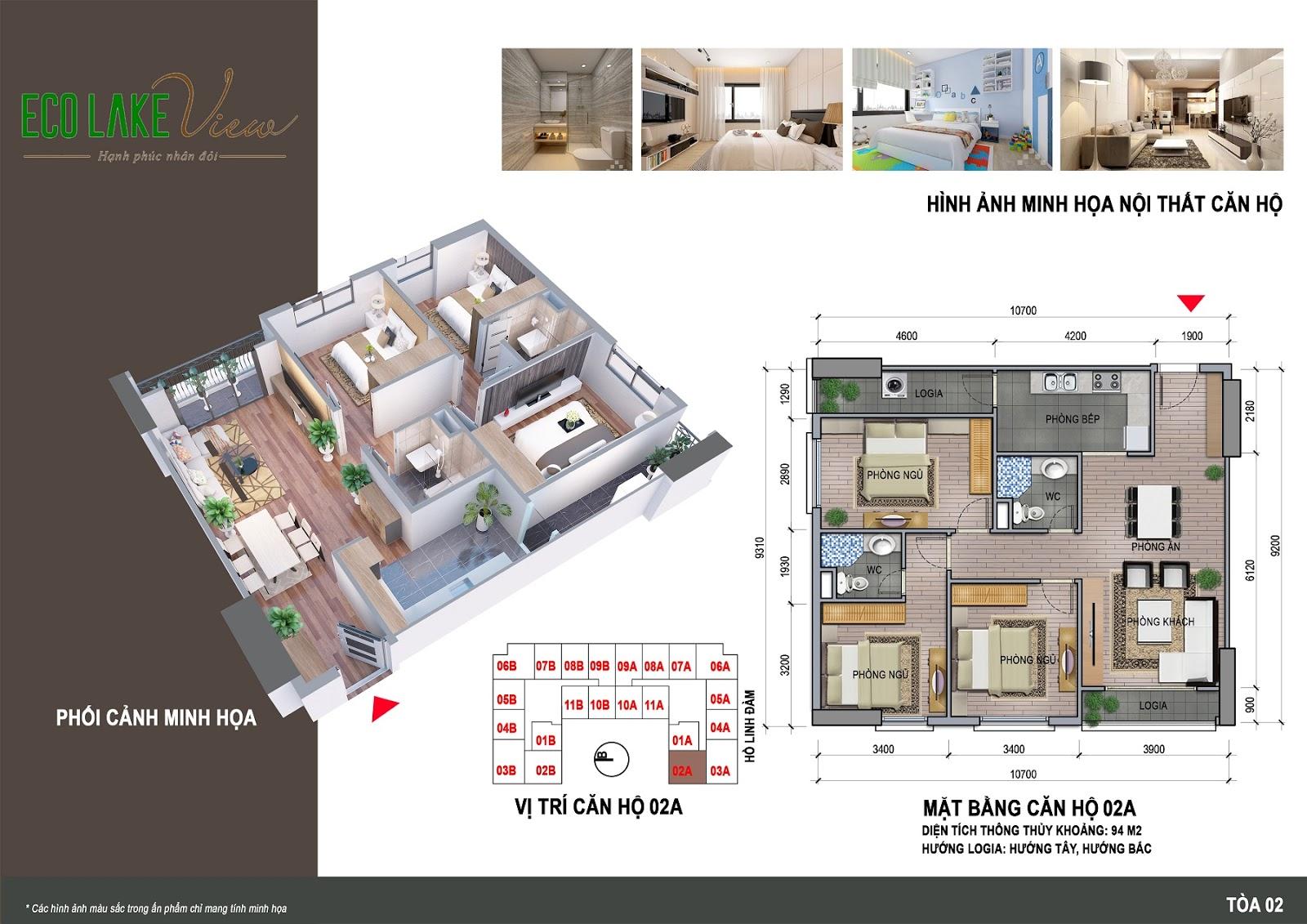 Thiết kế căn hộ 02A - 94m - HH02 Eco Lake View