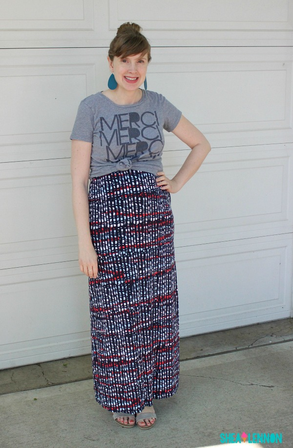 Outfit idea: knot a graphic tee over a maxi dress | www.shealennon.com
