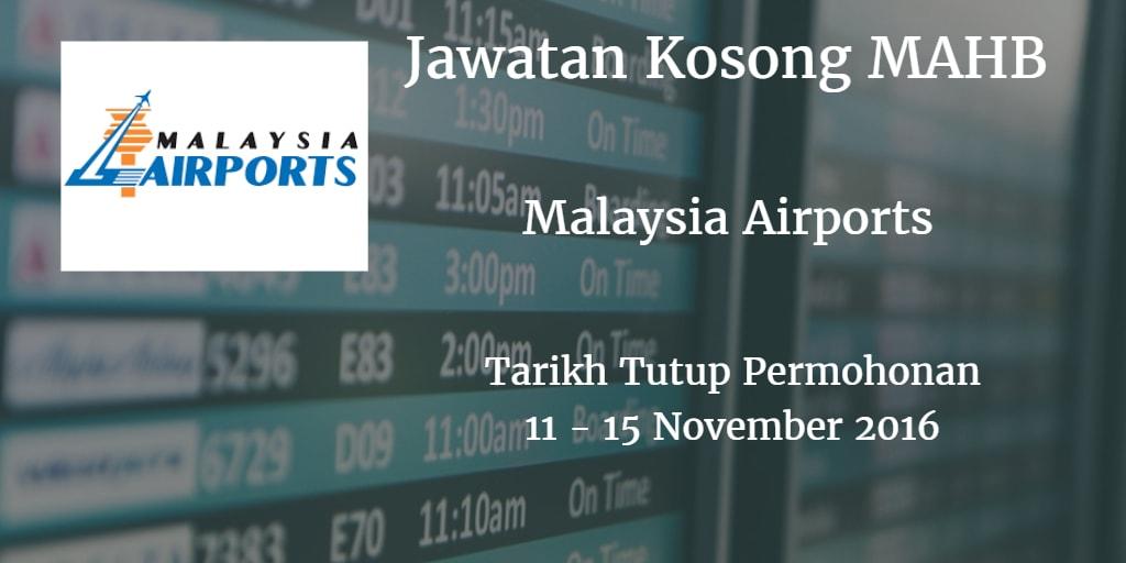 Jawatan Kosong MAHB 11 - 15 November 2016