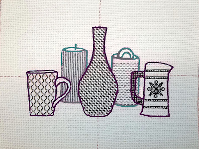How the still life might look with narrow outline stitching