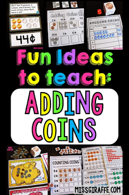 Adding coins activities for teaching money and making change first grade worksheets and hands on centers including money word problems for second grade learning too!