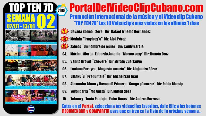 Artistas ganadores del * TOP TEN 7D * con los 10 Videoclips más vistos en la semana 02 (07/01 a 13/01 de 2019) en el Portal Del Vídeo Clip Cubano
