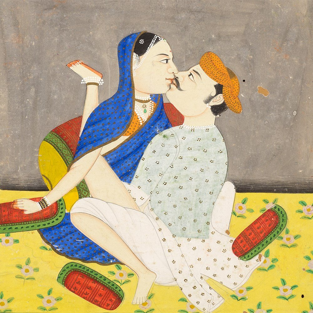 Couple Making Love - Miniature Painting, India, Late 19th Century