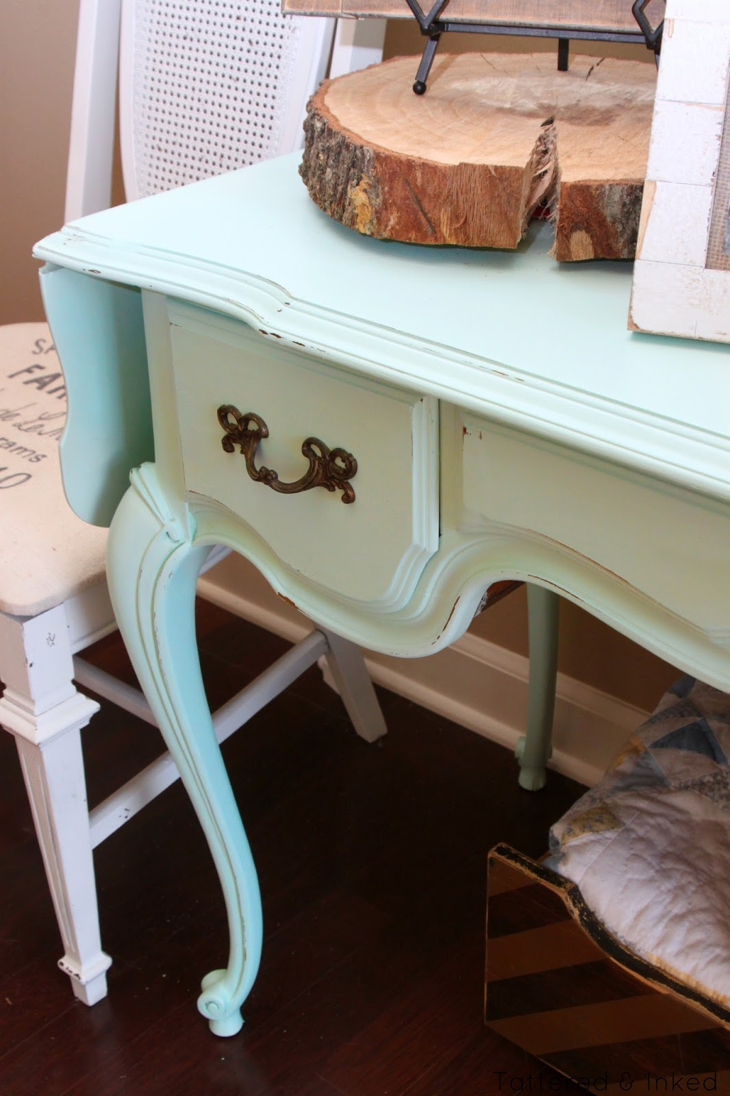 Tattered And Inked Mint Foyer Table Makeover
