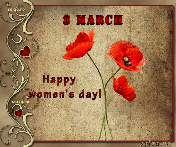 Black Wallpaper With Red Flowers Happy Women S Day Greetings