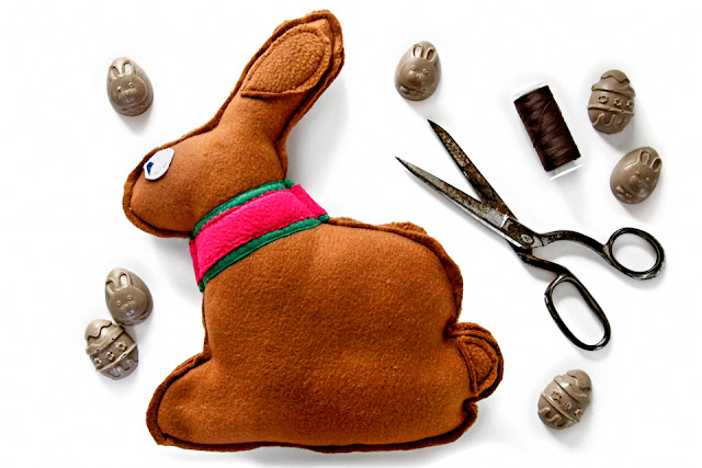 """Chocolate"" Easter bunny shaped homemade stuffed dog toy with treats"