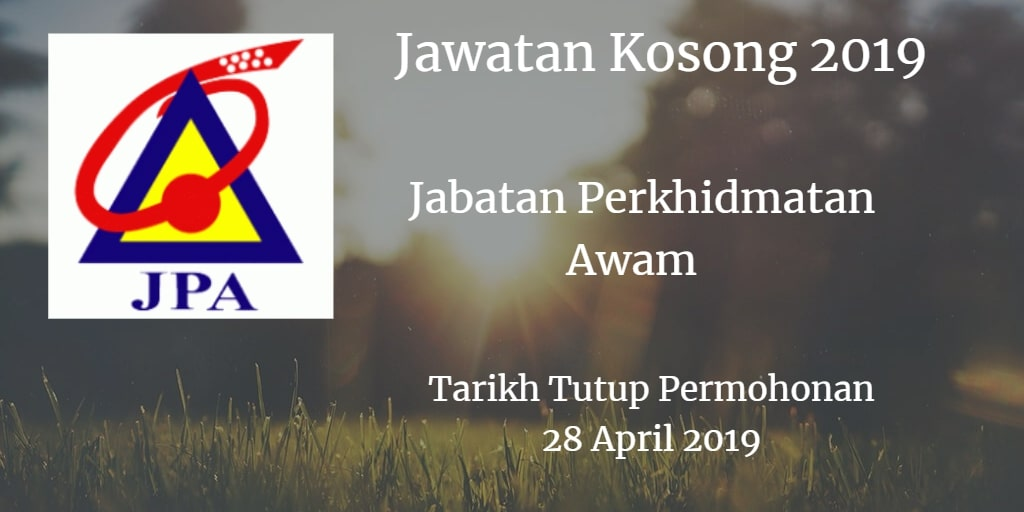 Jawatan Kosong JPA 28 April 2019