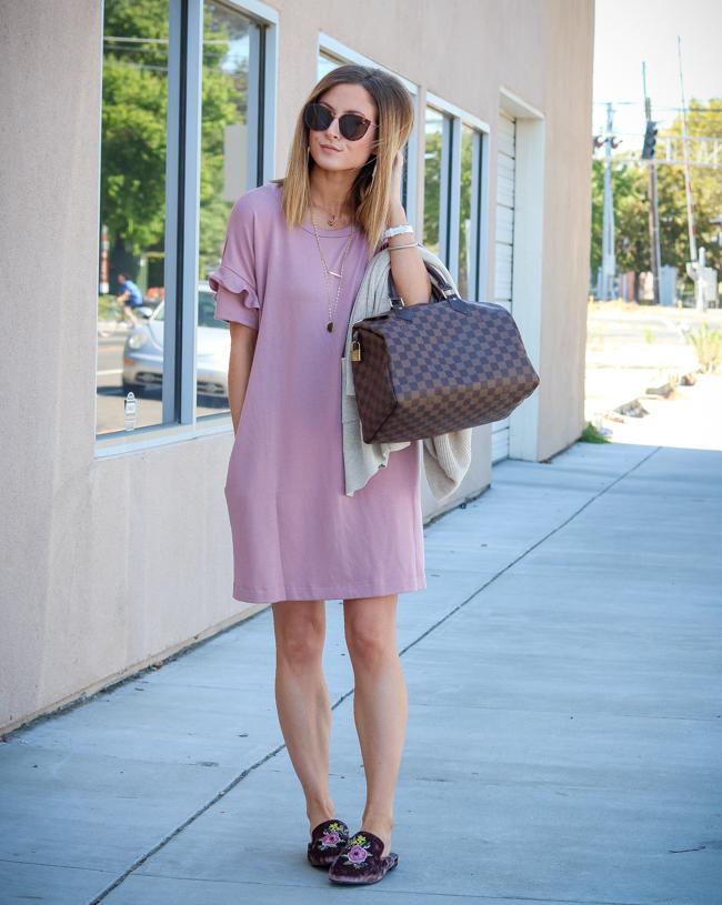 lush ruffle sleeve dress pink velvet steve madden mules