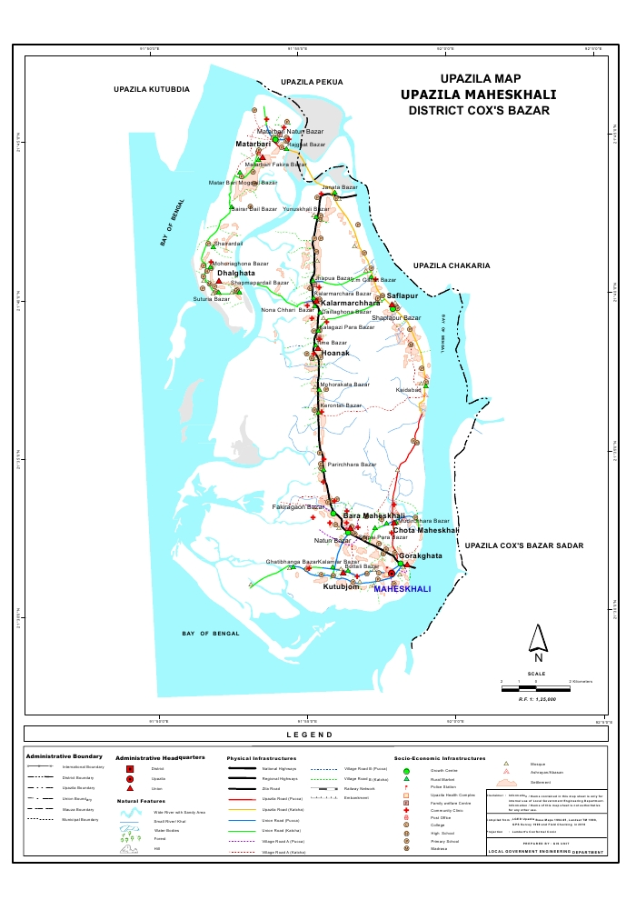 Maheshkhali Upazila Map Cox's Bazar District Bangladesh