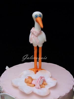 Cigüeña y bebé para tarta de bautizo
