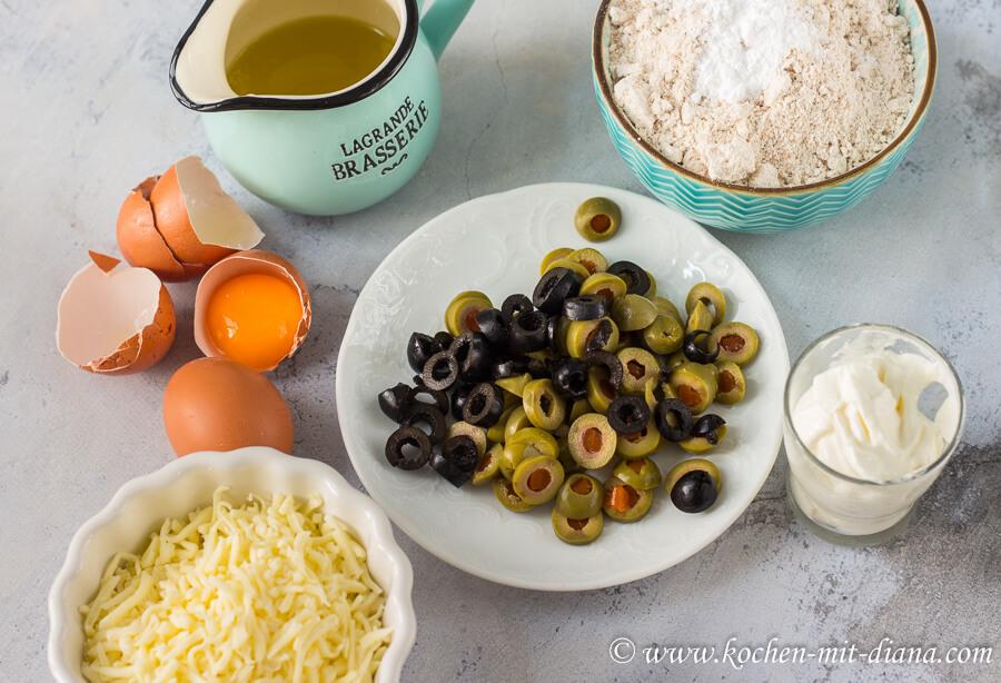 Zutaten Olivenkuchen