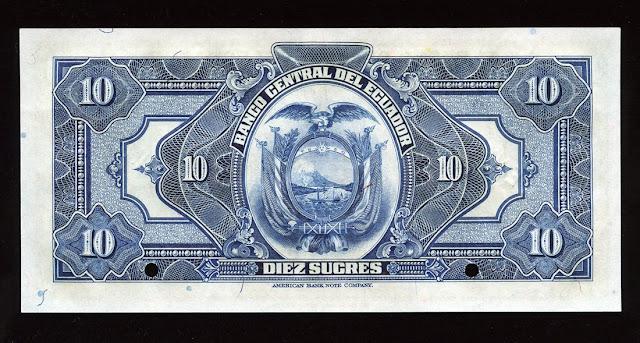 Billete Ecuador diez Sucres