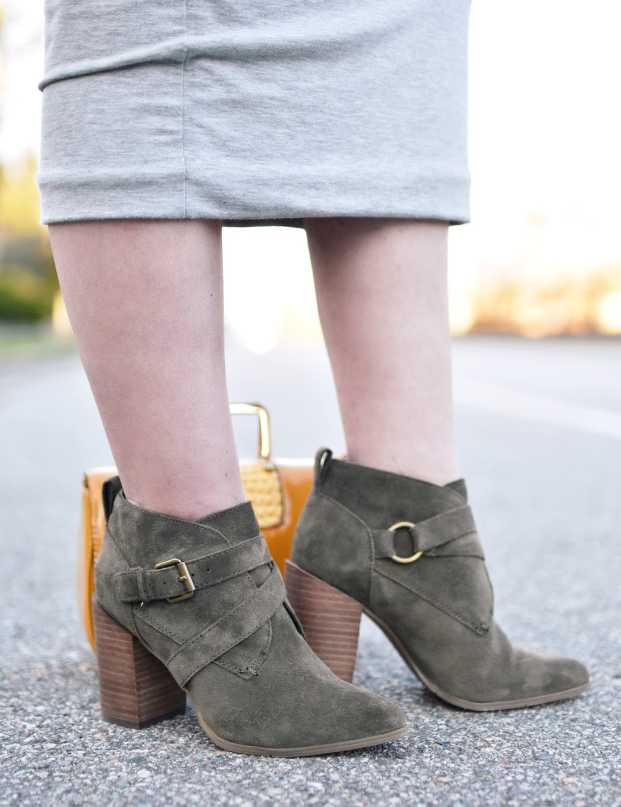 Monika Faulkner outfit inspiration - Nine West olive suede ankle boots