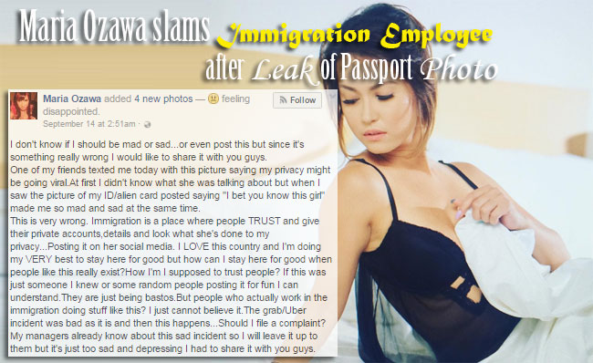 Maria Ozawa slams Immigration Employee after Leak of Passport Photo