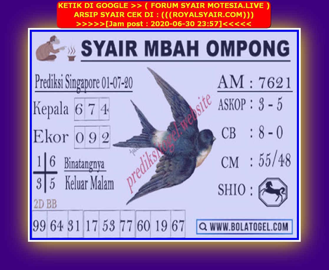 Kode syair Singapore Rabu 1 Juli 2020 251
