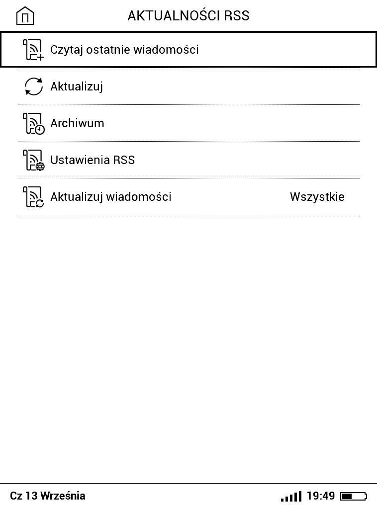 PocketBook Basic Lux 2 – ustawienia czytnika kanałów RSS