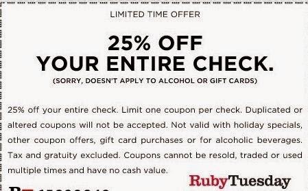 Ruby Tuesday Printable Coupons May 2018