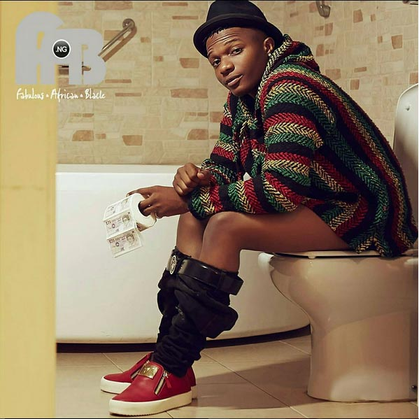 Dafuq? Wizkid sits on toilet seat for frontpage picture of Fab Magazine