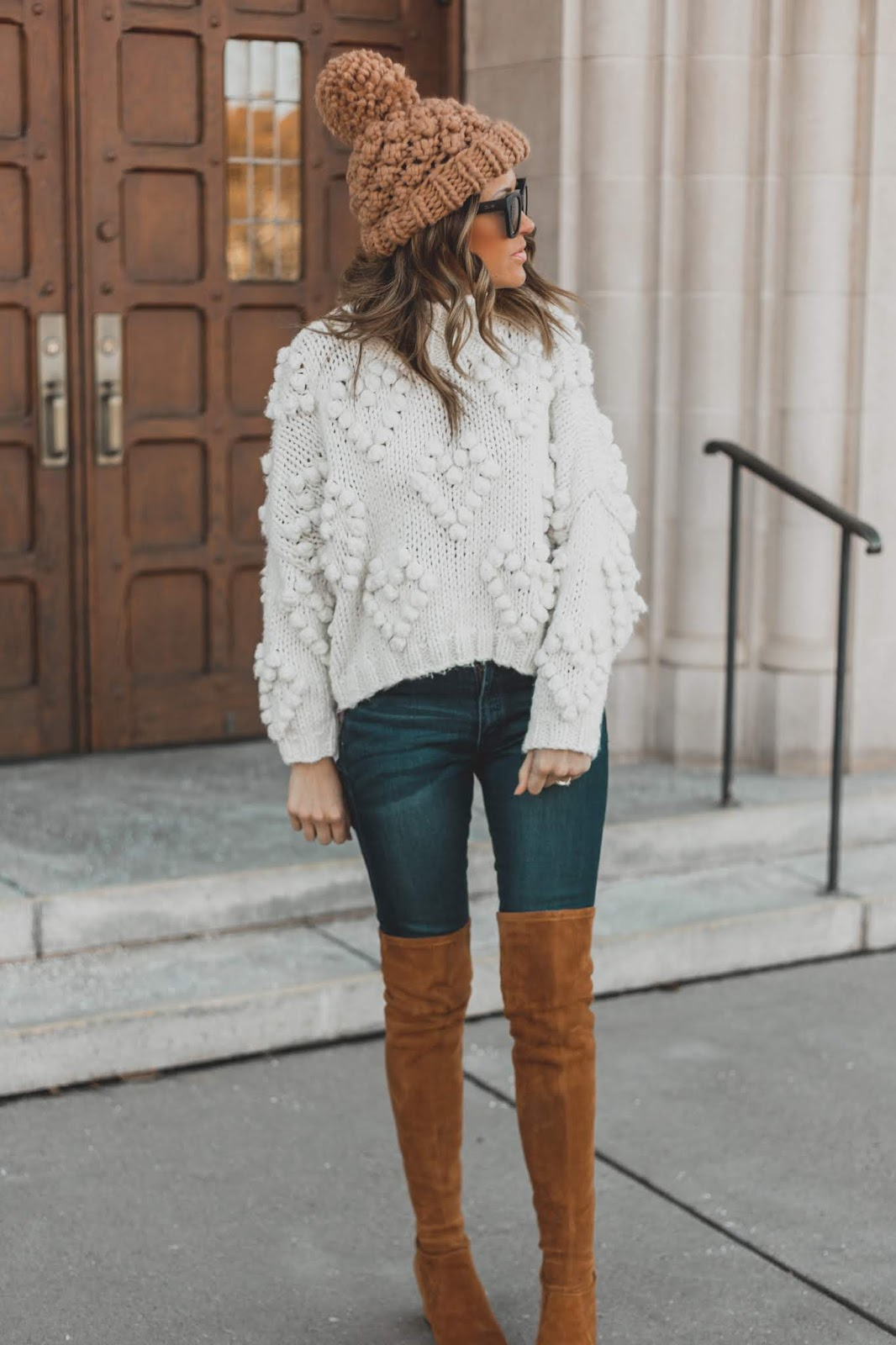 Knit Pom Beanie With White Sweater and OTK Boots