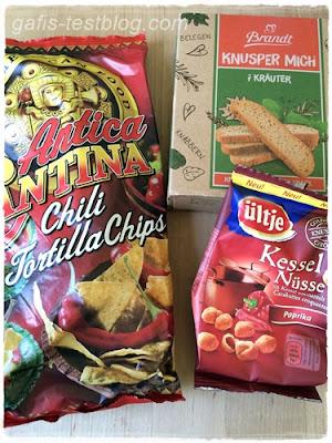 Antica Cantina - Chili Tortilla Chips,Brandt - Knusper Mich - 7 Kräuter und Ültje - Kesselnüsse Paprika