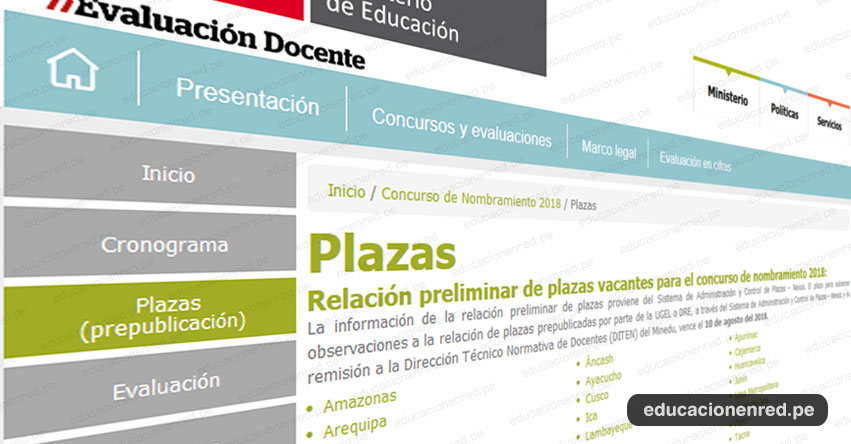 MINEDU publicó Plazas Nombramiento Docente 2018 [PREPUBLICACIÓN 25 JULIO] www.minedu.gob.pe