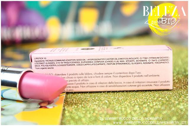 beleza purobio collezione  lipstick  10 magenta chiaro rossetto inci