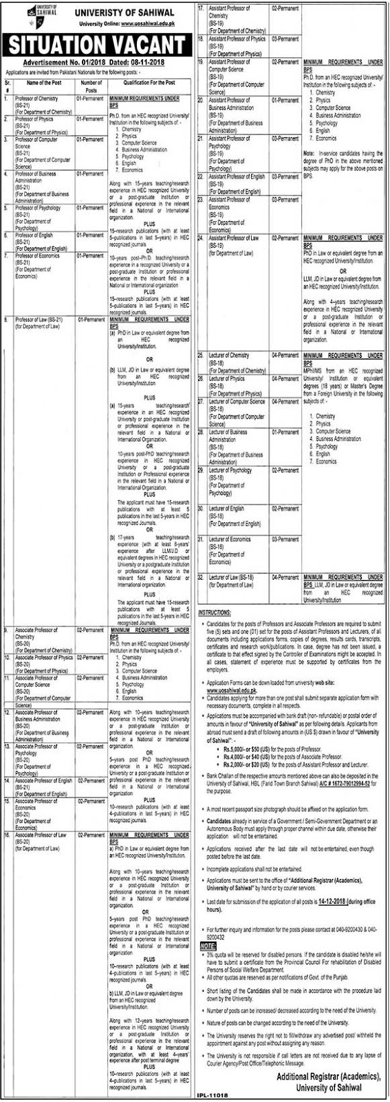 UOS University of Sahiwal Latest Advertisement No 1 2018